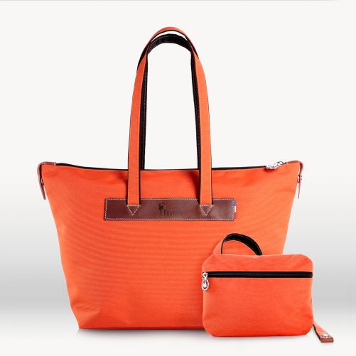 Sac cabas zippé  46 cm  Orange/Tabac